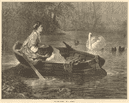 """On the river"", by P. Rumpf. Swan 1874 antique ILN full page print"